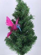 1x Kerstversiering op clip vogel/kolibrie roze 19 cm - Kerstboom decoratie - Roze glitter kerstversieringen