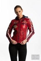 Urban Leather Fifty Eight Leren Motorjas Dames - Rood - Maat 4XL
