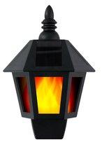Grundig Wandlamp - Solar - 31 LED's - Brandtijd 6-8 uur - Vlameffect of Wit Licht - Zwart