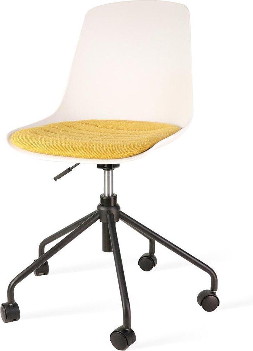 Nolon Nout bureaustoel zwart - Witte zitting en okergeel zitkussen