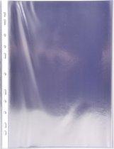 Pak van 100 geperforeerde showtassen - gladde PVC - A4, Transparant