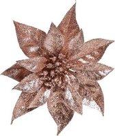 Oud roze kerstster met glitters op clip 18 cm - kerstversiering