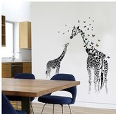 Muursticker Giraffe Met Vlinders - Vinyl - Zwart