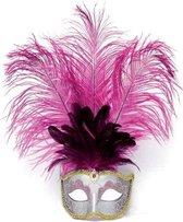 Oog masker met roze veren
