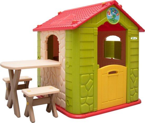 Kinderspeelhuisje incl. tafel en 2 banken Kunststof speelhuisje Tuinhuisje voor binnenshuis Buiten