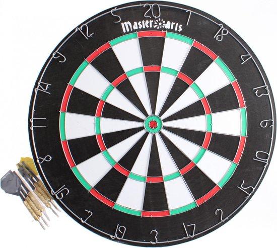 Masterdarts Dartbord - 45 cm - dubbelzijdig - hout - met 6 darts