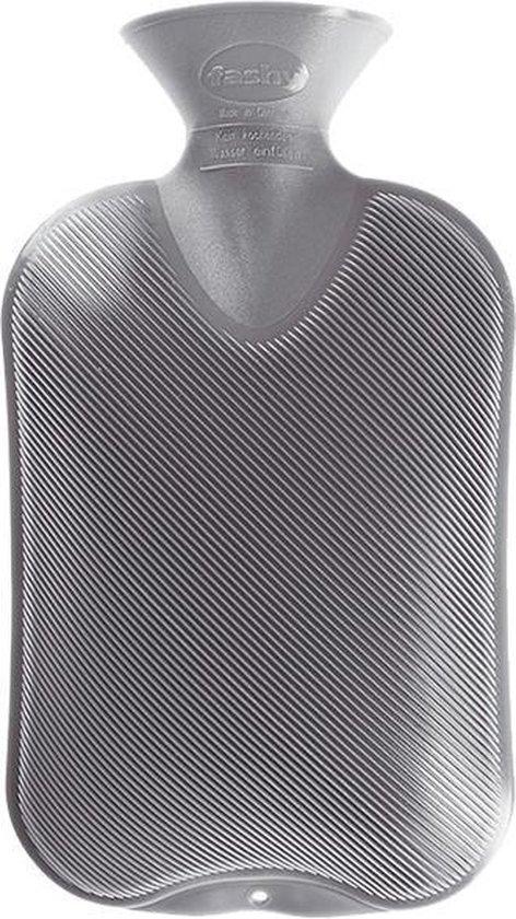 Fashy warmwaterkruik 2 liter grijs - enkelzijdig geribbeld