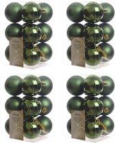 48x Donkergroene kunststof kerstballen 6 cm - Mat/glans - Onbreekbare plastic kerstballen - Kerstboomversiering donkergroen