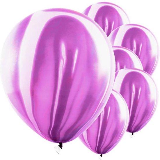 Ballonnen Marmer Paars - 6 stuks