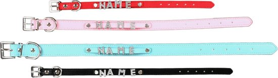 """scarlet pet   Hondenhalsband """"My-Name"""" incl. 5 strass letters; kan gepersonaliseerd worden met de naam van uw hond; extra letters kunnen besteld worden. Rood (L) 46 cm"""