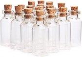 Glazen Mini Flesjes Met Kurk – Decoratie flesjes – Inhoud 5 ml - 20 Stuks