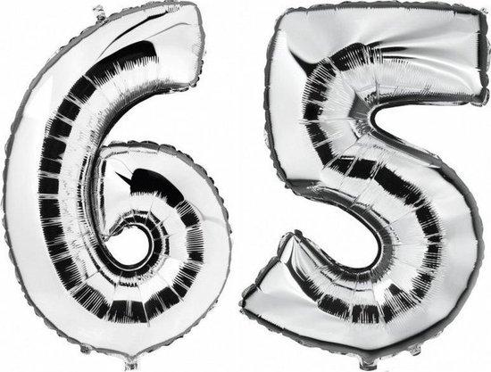 65 jaar zilveren folie ballonnen 88 cm leeftijd/cijfer - Leeftijdsartikelen 65e verjaardag versiering - Heliumballonnen