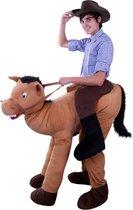 Rijdend op paard kostuum - alsof zittend op paard pak gedragen door - paardenpak cowboy bruin festival