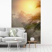 Fotobehang vinyl - Mooie zonsondergang boven het oerwoud van het Nationaal park Corcovado in Costa Rica breedte 180 cm x hoogte 270 cm - Foto print op behang (in 7 formaten beschikbaar)