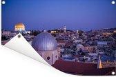 Uitzicht op Jeruzalem en de Heilig Grafkerk na zonsondergang Tuinposter 180x120 cm - Tuindoek / Buitencanvas / Schilderijen voor buiten (tuin decoratie) XXL / Groot formaat!
