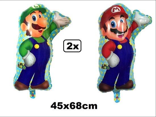 2x Folie ballon Super Mario en Luigi 45x68cm - Folieballon festival thema party nintendo verjaardag spelcomputer