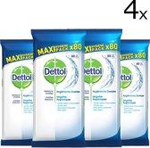 Dettol Cleansing Schoonmaakdoekjes - 4 x 80 stuks - Voordeelverpakking - Wit