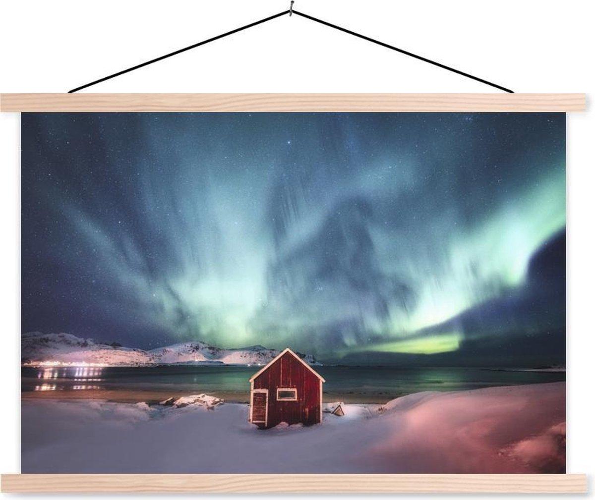 Noorderlicht boven een houten schuur textielposter latten blank 90x60 cm - Foto print op schoolplaat (wanddecoratie woonkamer/slaapkamer)