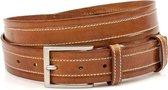 Cognac kleurige pantalon riem 3.5 cm breed - Cognac - Casual - Leer - Taille: 100cm - Totale lengte riem: 115cm - Unisex riem