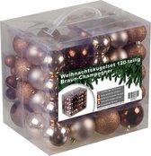 4seasonz kerstballenset - 120 stuks - Kunststof - Champagne/Bruin