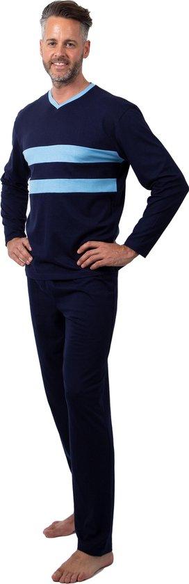 Heren Pyjama Navy Blauw V Hals - Maat L/XL