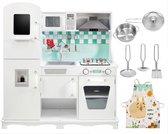 Mamabrum Houten Witte SpeelKeuken Groot - met Accessoires en Schort, Kinderkeuken