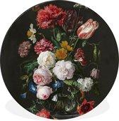 Wandcirkel Oude meesters aluminium - Stilleven met bloemen inglazen vaas - Schilderij van Jan Davidsz. Heem - ⌀ 90 cm