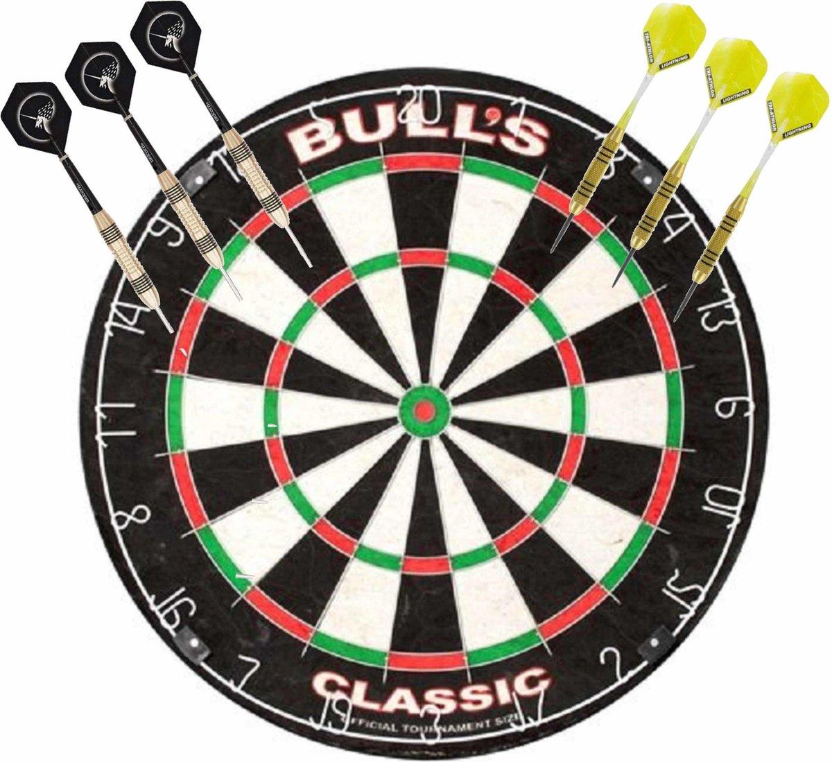 Professioneel dartbord Bulls The Classic incl 2 sets dartpijlen 23 grams - Sportief spelen - Darten/darts - Dartborden voor kinderen en volwassenen.