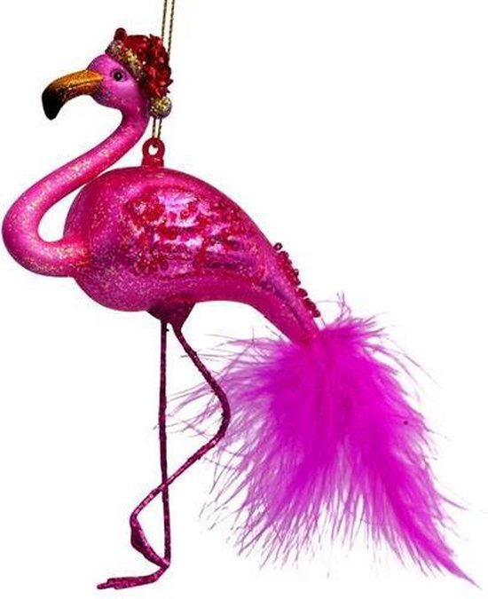 Vondels Glazen kerst decoratie hanger fuchsia flamingo H15cm