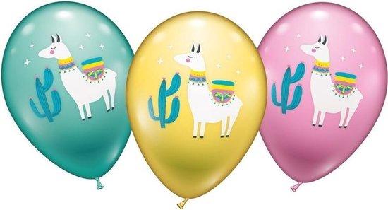 12x stuks Lama/alpaca thema ballonnen - Dieren thema feestartikelen/versieringen