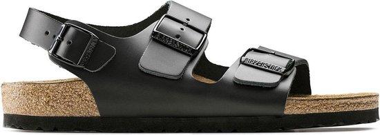 Birkenstock Milano Narrow Zwart Smooth Leather Sandalen Heren Size : 45