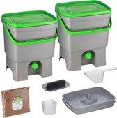 Skaza Bokashi Organko keukencompostbak van gerecycled plastic | 2x 16 L | Starter Set voor keukenafval en compostering | met EM zemelen 1 kg | Grijs groen