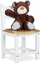 relaxdays kinderstoel bamboe - stoel voor kinderen - wit - kinderstoeltje kinderkamer