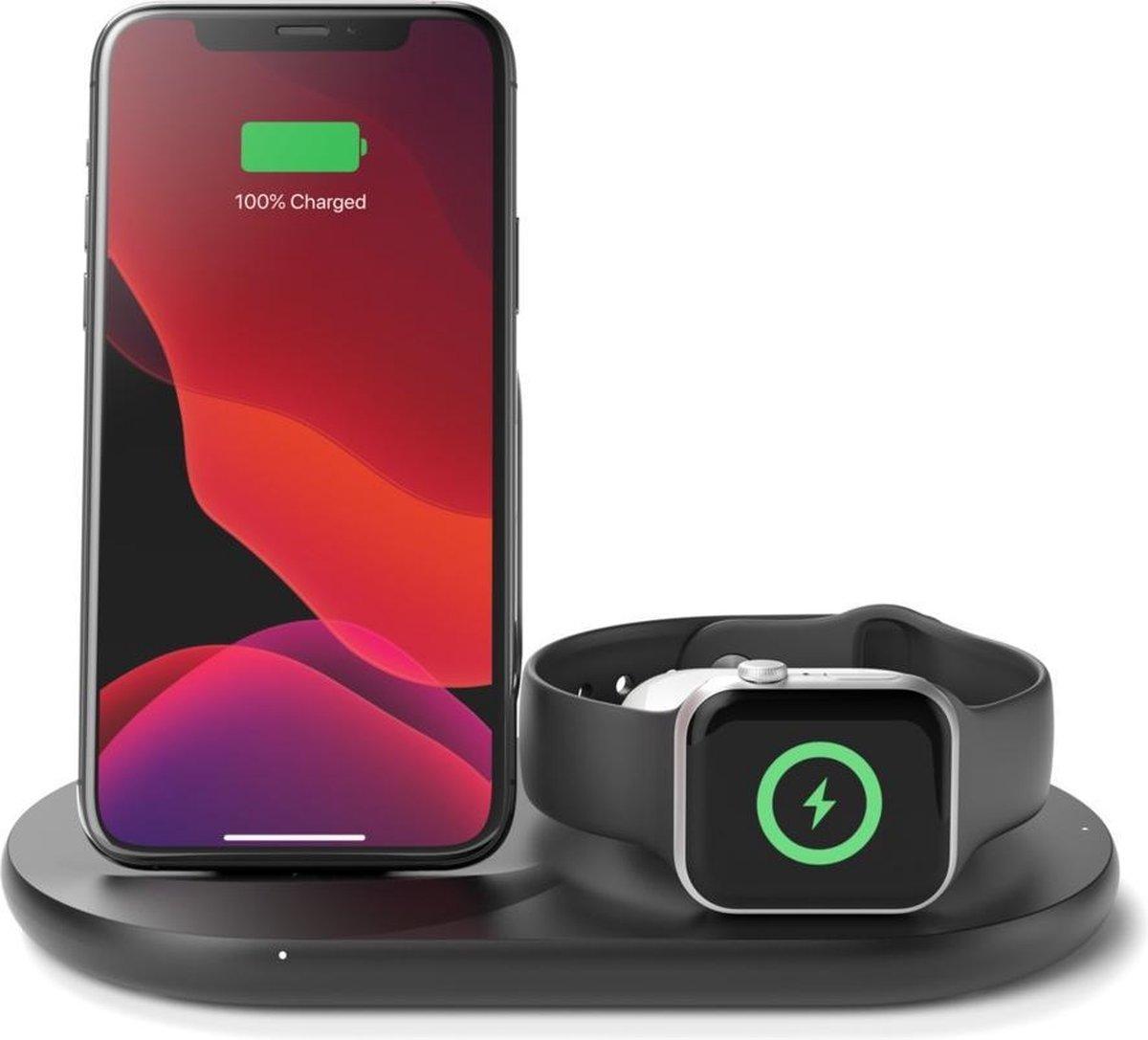 Belkin 3-in-1 Qi Wireless charger voor iPhone - Draadloze oplader - 10W - Zwart