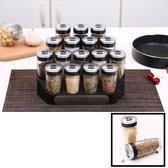 Decopatent® Kruidenrek Incl. 16 glazen kruiden potjes - Rvs strooideksel - Staand Kruiden & Specerijen rek - Kruidenpotjes glas