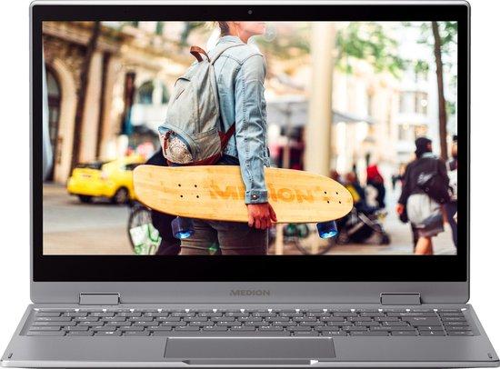 MEDION AKOYA E4271TG-C128F4S Hybride (2-in-1) Grijs, Titanium 35,6 cm (14'') 1920 x 1080 Pixels Touchscreen Intel® Celeron® 4 GB DDR4-SDRAM 128 GB SSD Wi-Fi 5 (802.11ac) Windows 10 Home S