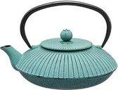 Mooie Cast-Iron Theepot - Secret de Gourmet -  Luxe afwerking - Prachtige gietijzeren theepot Blauw / Groen 0.8L