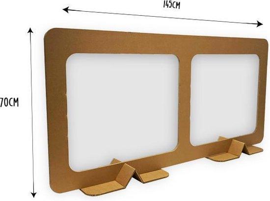 KarTent - Kartonnen Tussenschot voor Horeca en Kantoor - Open Laag - 147cm x 70cm - Bruin/karton - Coronascherm - Duurzaam Karton