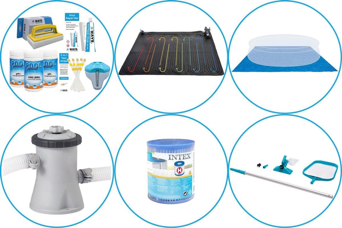 Zwembad Accessoirepakket 5-delig - WAYS Onderhoudspakket & Zwembad verwarming & Filterpomp (28602GS) + Filter & Onderhoudsset & Grondzeil