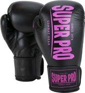 Super Pro Combat Gear Champ - Vechtsporthandschoenen - Vrouwen - Zwart/Roze - 14oz