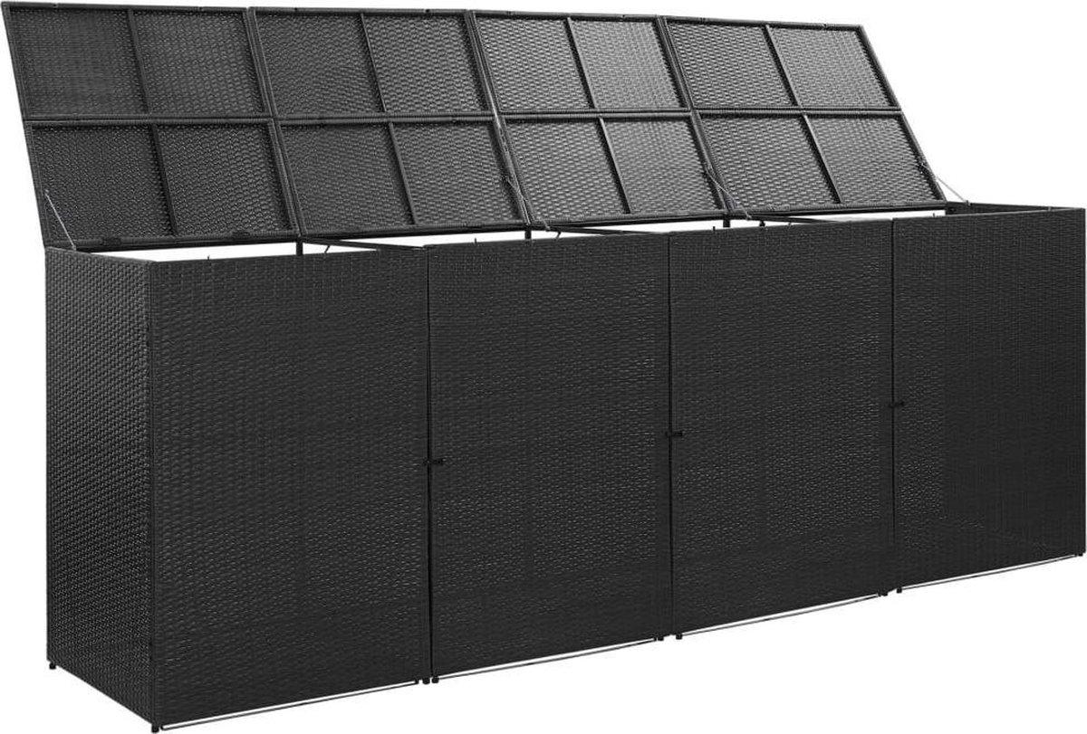 VidaXL Containerberging vierdubbel 305x78x120 cm poly rattan zwart VDXL_46737 online kopen