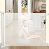 Oprolbaar Traphekje - Wit - Veiligheid in huis - Luxe Mesh - Veiligheidshekje voor Baby - Kinderhekje - Hondenhek - Nifkos