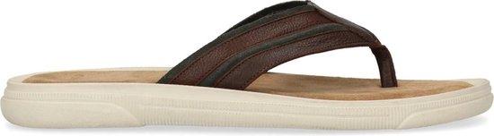 Manfield - Heren - Bruine leren slippers - Maat 45