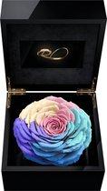 ROSES BY ROSES® - Luxe Video Flowerbox met HD scherm en 1 Longlife XXL Roos Rainbow - ''Een Persoonlijke Videoboodschap Uploaden'' voor Valentijnsdag, een Bruiloft, een Verjaardag, een Jubileum,  moederdag of vaderdag. Een uniek cadeau!
