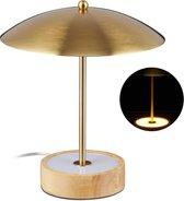 relaxdays led tafellamp - nachtlamp ijzer - messing look - tafellampje - houten voet