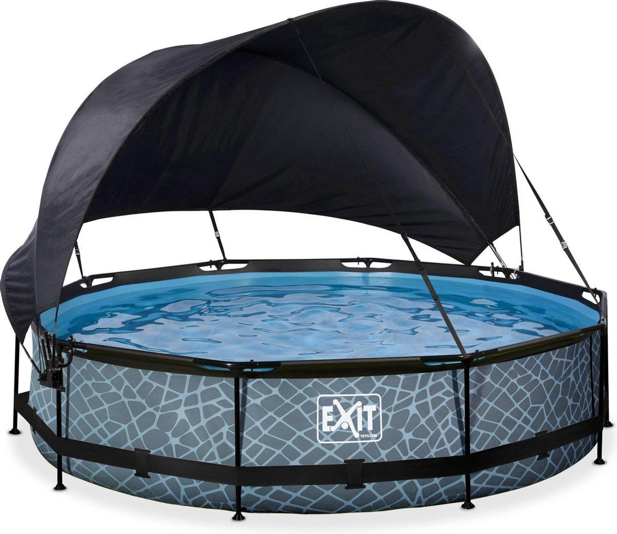 EXIT Stone zwembad ø360x76cm met schaduwdoek en filterpomp - grijs