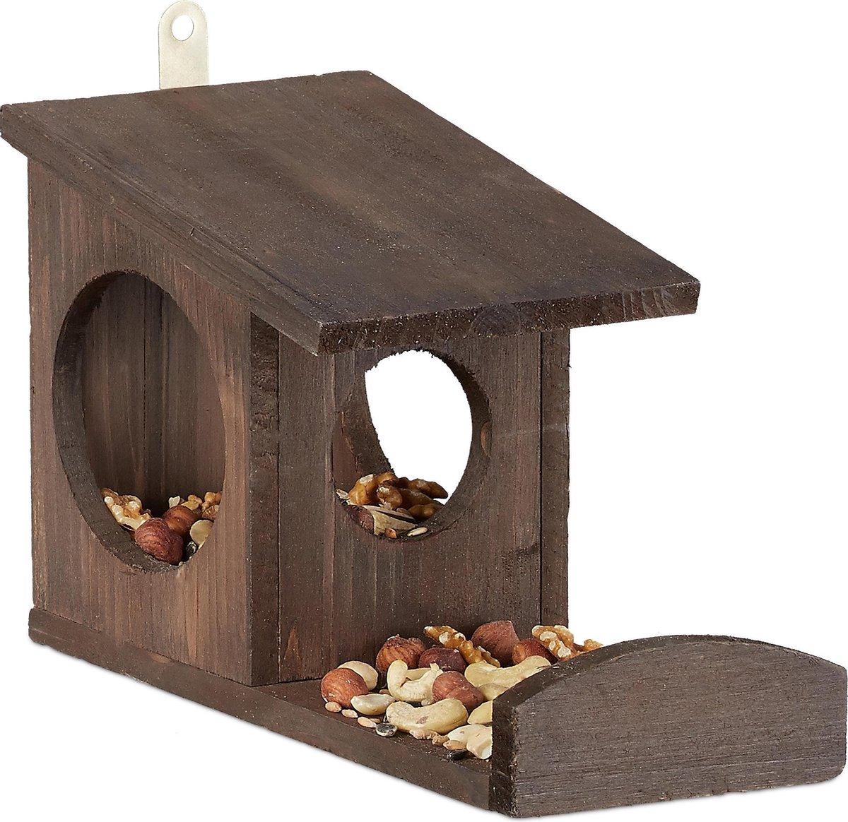 relaxdays eekhoorn voederhuisje - voederhuis - voederkast - voederbak - hout - voederplek dark Brown
