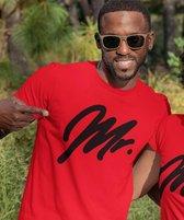 Mr & Mrs T-Shirt Premium Red Black (Mr - Maat XL)