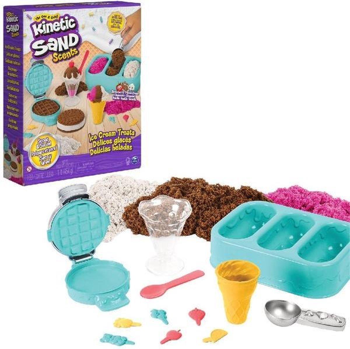 Kinetic Sand IJstraktaties speelset - drie kleuren geurend zand - 510 gram