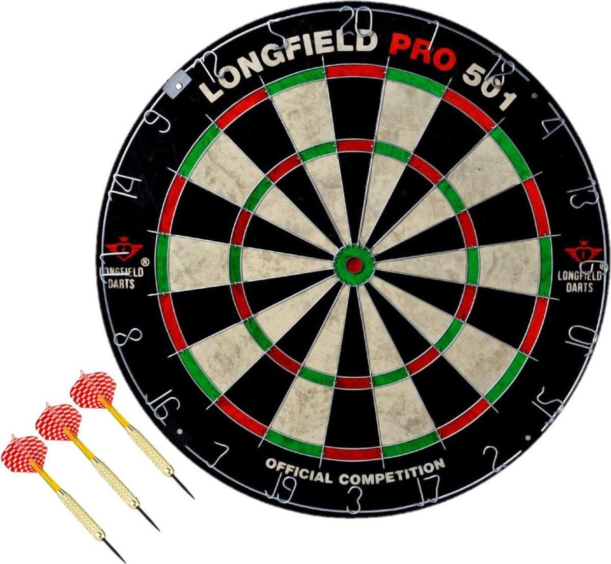 Dartbord set compleet van diameter 45.5 cm met 3x dartpijlen van 22 gram - Longfield professional - Darten